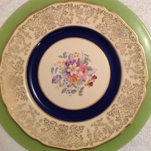 Navy Vintage Fine China Dinner Plate