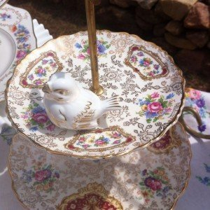 vintage fine china cake stand