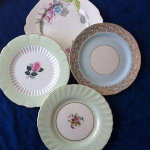 vintage fine china pastel plates