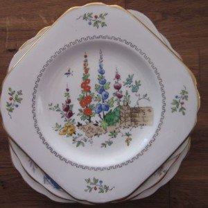 vintage fine china square cake plates