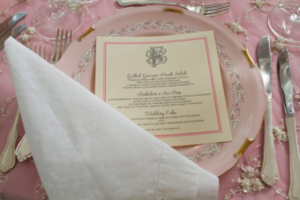 Pink place setting  wedding table styling
