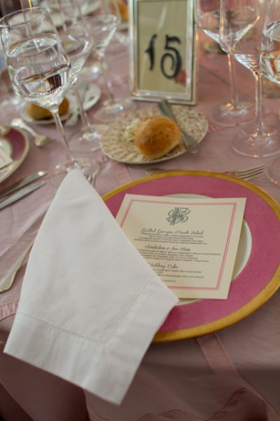 Gold rimmed fine china pink place setting