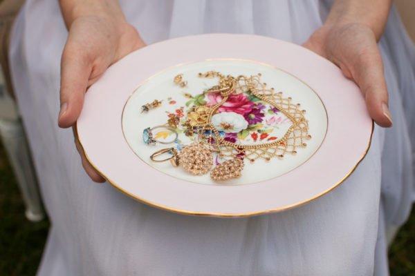 jewelry on vintage plate