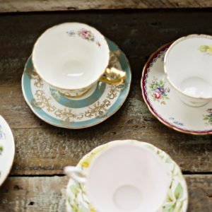 tea cups rustic wedding inspiration