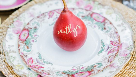 red pear on Red place setting