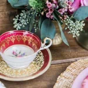 red gold teacup vintage wedding
