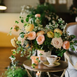 Engagement Party with Elegant English China in Gold and White