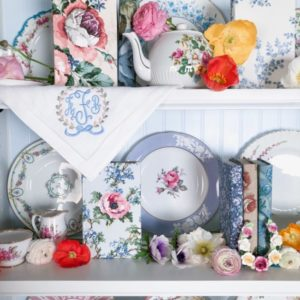 Pink Shelves with Vintage Books, China and Flowers