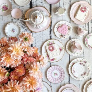 Pink Vintage Tea Cups with SuburbanCrunchyGirl